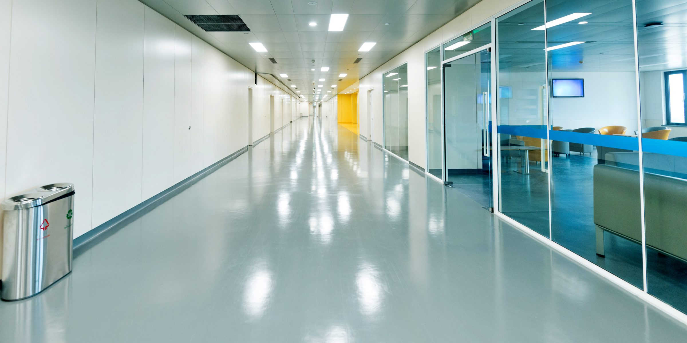 Empty corridor in a hospital.